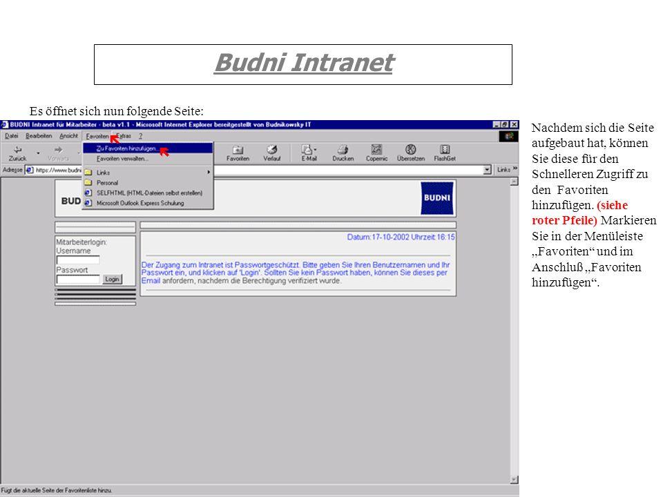 Budni Intranet Es öffnet sich nun folgende Seite: Nachdem sich die Seite aufgebaut hat, können Sie diese für den Schnelleren Zugriff zu den Favoriten