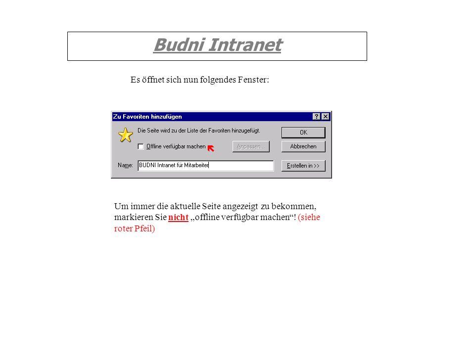 Budni Intranet Es öffnet sich nun folgendes Fenster: Um immer die aktuelle Seite angezeigt zu bekommen, markieren Sie nicht offline verfügbar machen!