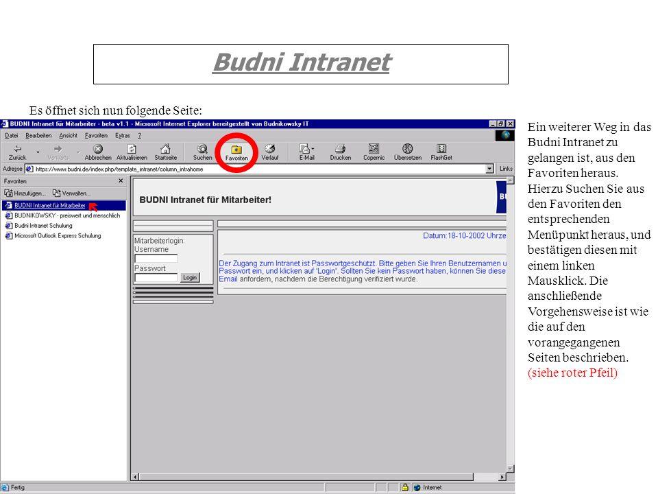 Budni Intranet Es öffnet sich nun folgende Seite: Ein weiterer Weg in das Budni Intranet zu gelangen ist, aus den Favoriten heraus. Hierzu Suchen Sie