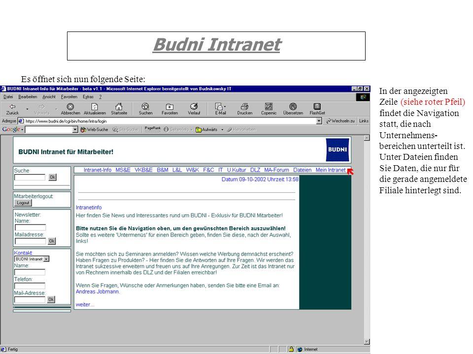Budni Intranet Es öffnet sich nun folgende Seite: In der angezeigten Zeile (siehe roter Pfeil) findet die Navigation statt, die nach Unternehmens- ber