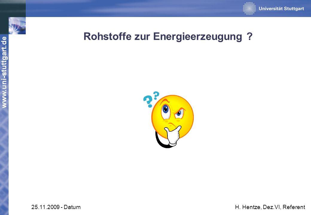 www.uni-stuttgart.de 25.11.2009 - DatumH. Hentze, Dez.VI, Referent Rohstoffe zur Energieerzeugung ?