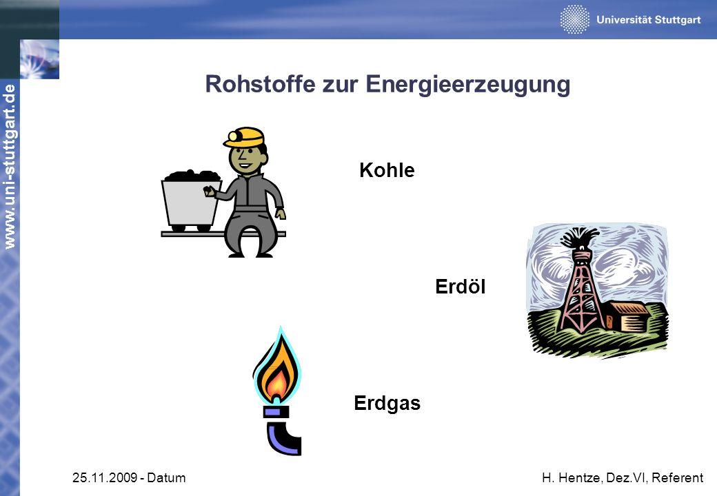 www.uni-stuttgart.de 25.11.2009 - DatumH. Hentze, Dez.VI, Referent Rohstoffe zur Energieerzeugung Kohle Erdöl Erdgas