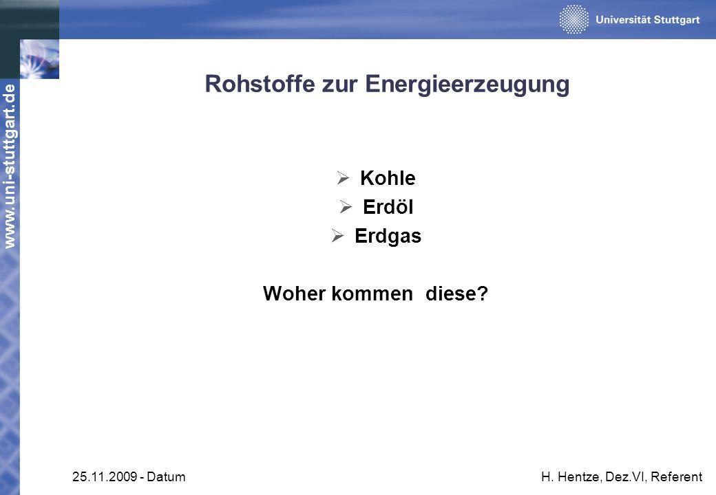 www.uni-stuttgart.de 25.11.2009 - DatumH. Hentze, Dez.VI, Referent Rohstoffe zur Energieerzeugung Kohle Erdöl Erdgas Woher kommen diese?