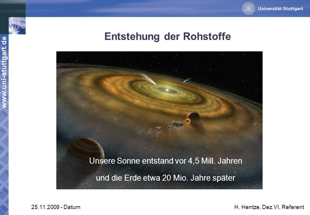 www.uni-stuttgart.de 25.11.2009 - DatumH. Hentze, Dez.VI, Referent Entstehung der Rohstoffe Unsere Sonne entstand vor 4,5 Mill. Jahren und die Erde et