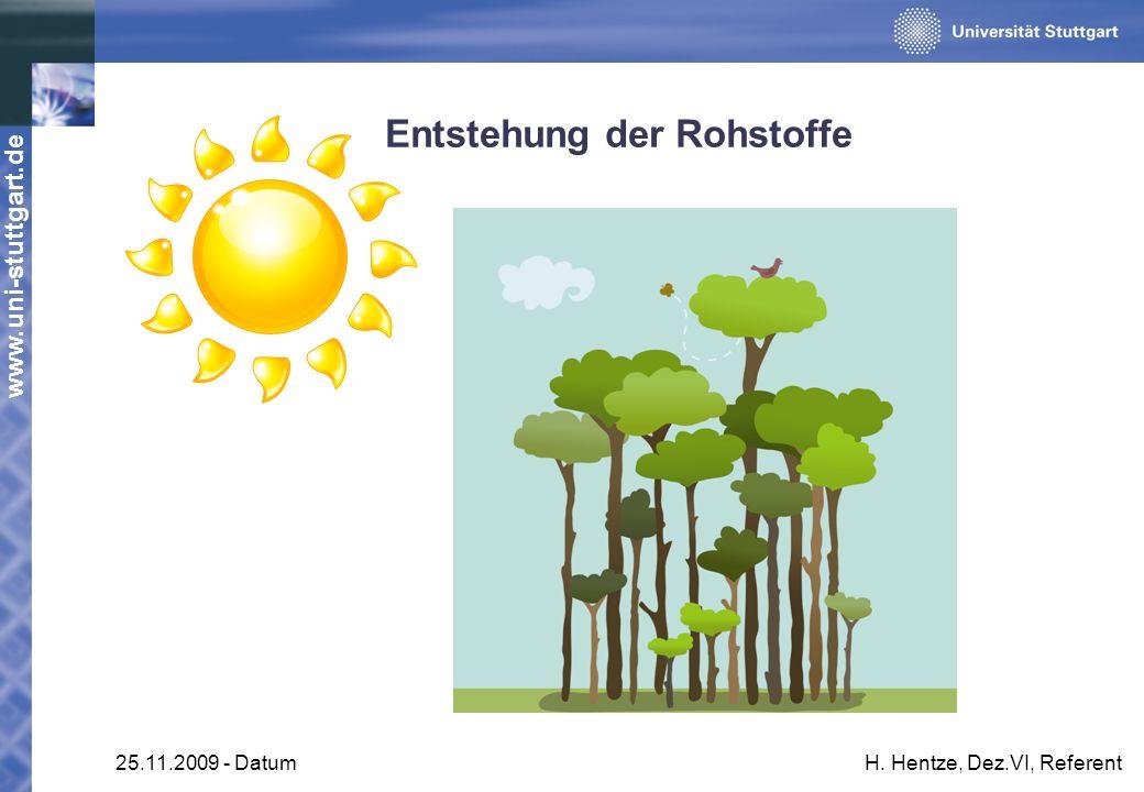 www.uni-stuttgart.de 25.11.2009 - DatumH. Hentze, Dez.VI, Referent Entstehung der Rohstoffe