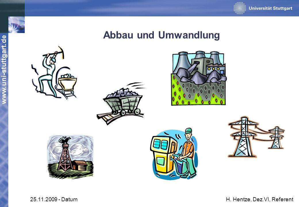 www.uni-stuttgart.de 25.11.2009 - DatumH. Hentze, Dez.VI, Referent Abbau und Umwandlung