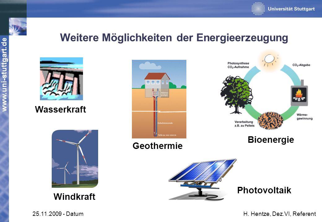 www.uni-stuttgart.de 25.11.2009 - DatumH. Hentze, Dez.VI, Referent Weitere Möglichkeiten der Energieerzeugung Wasserkraft Photovoltaik Windkraft Bioen