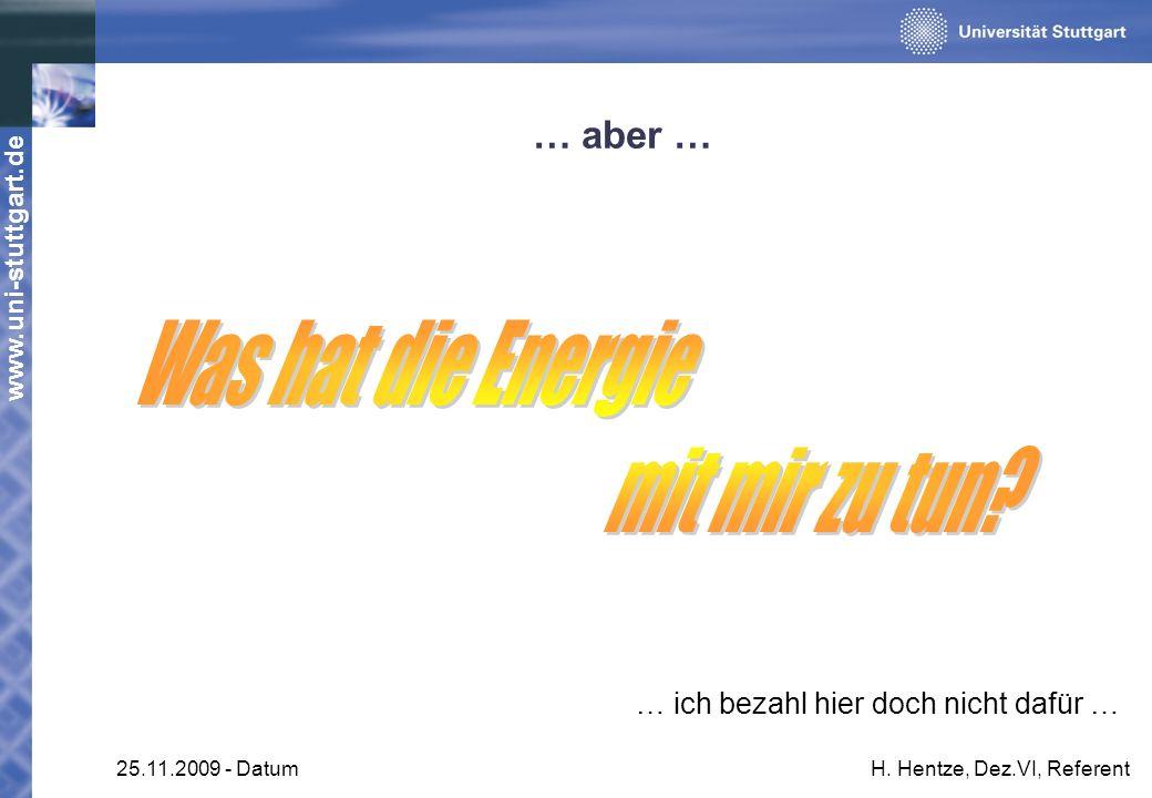 www.uni-stuttgart.de 25.11.2009 - DatumH. Hentze, Dez.VI, Referent … aber … … ich bezahl hier doch nicht dafür …