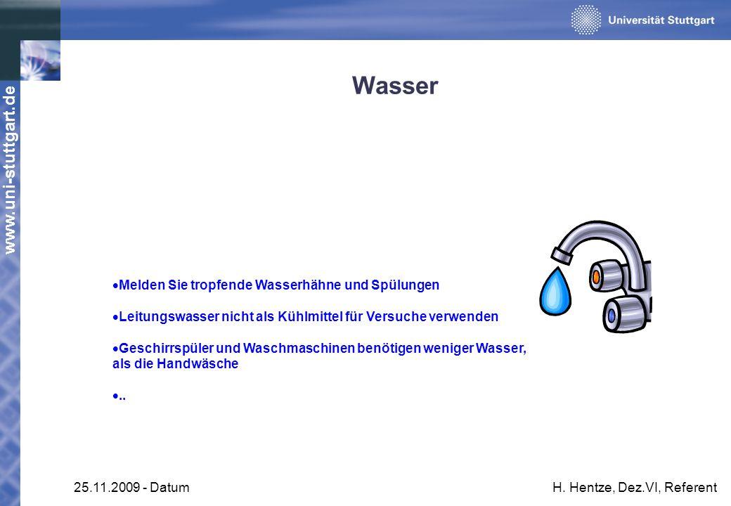 www.uni-stuttgart.de 25.11.2009 - DatumH. Hentze, Dez.VI, Referent Wasser Melden Sie tropfende Wasserhähne und Spülungen Leitungswasser nicht als Kühl
