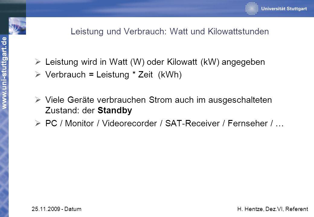 www.uni-stuttgart.de 25.11.2009 - DatumH. Hentze, Dez.VI, Referent Leistung und Verbrauch: Watt und Kilowattstunden Leistung wird in Watt (W) oder Kil