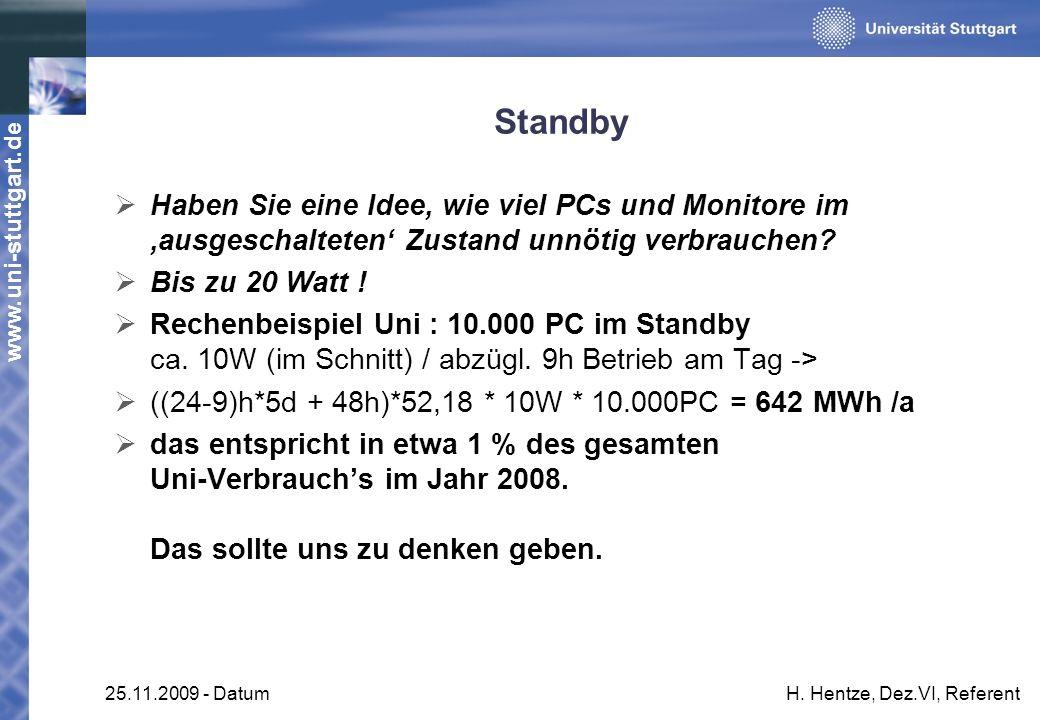 www.uni-stuttgart.de 25.11.2009 - DatumH. Hentze, Dez.VI, Referent Standby Haben Sie eine Idee, wie viel PCs und Monitore im ausgeschalteten Zustand u