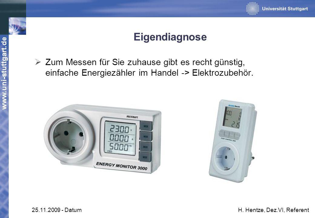 www.uni-stuttgart.de 25.11.2009 - DatumH. Hentze, Dez.VI, Referent Eigendiagnose Zum Messen für Sie zuhause gibt es recht günstig, einfache Energiezäh