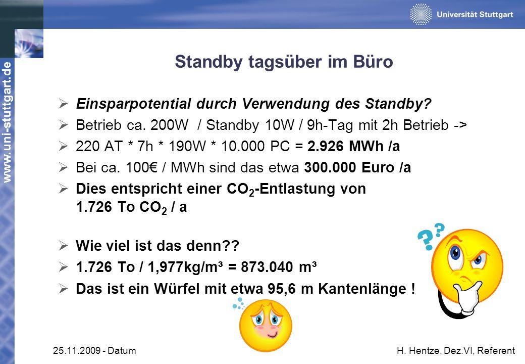 www.uni-stuttgart.de 25.11.2009 - DatumH. Hentze, Dez.VI, Referent Standby tagsüber im Büro Einsparpotential durch Verwendung des Standby? Betrieb ca.