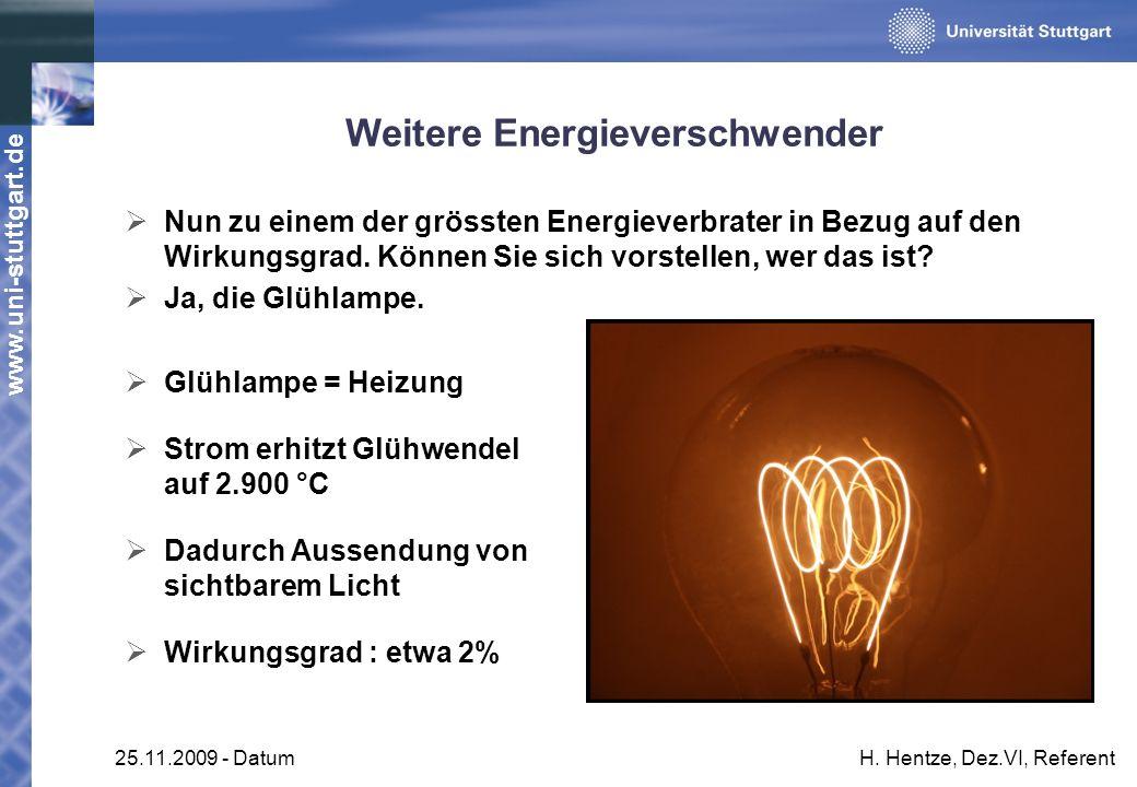 www.uni-stuttgart.de 25.11.2009 - DatumH. Hentze, Dez.VI, Referent Weitere Energieverschwender Nun zu einem der grössten Energieverbrater in Bezug auf