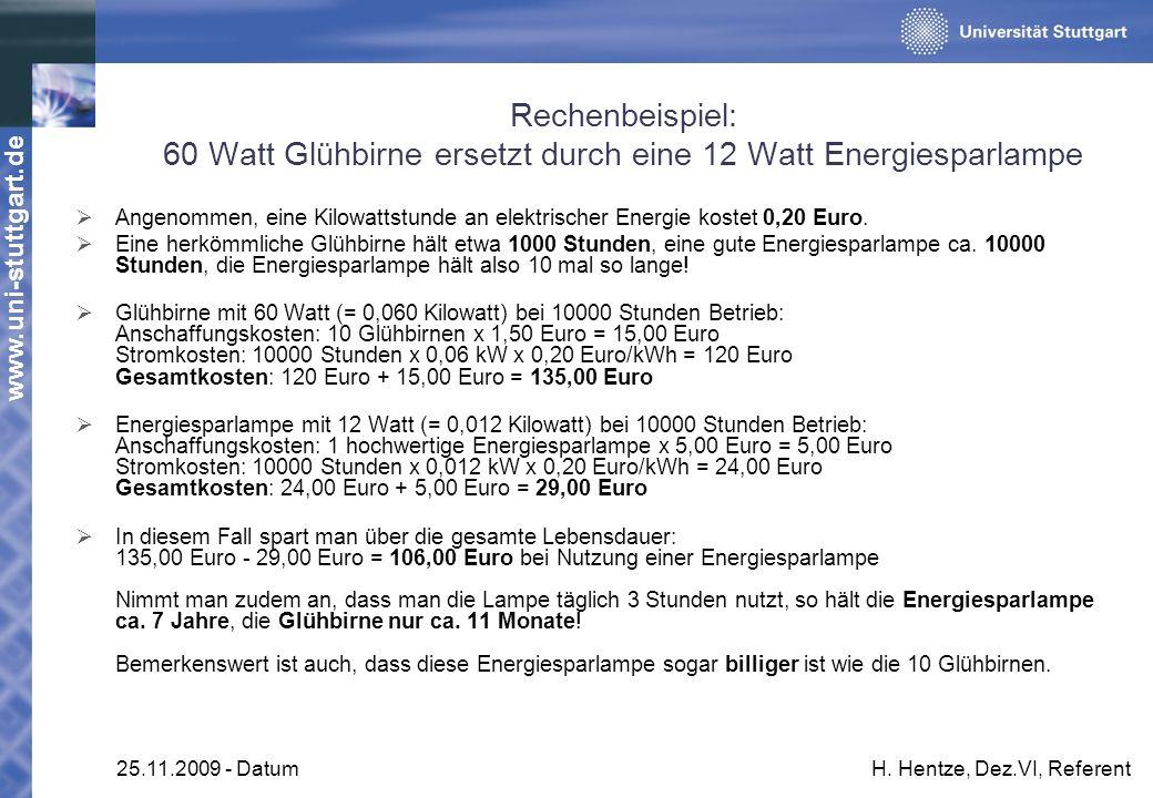 www.uni-stuttgart.de 25.11.2009 - DatumH. Hentze, Dez.VI, Referent Rechenbeispiel: 60 Watt Glühbirne ersetzt durch eine 12 Watt Energiesparlampe Angen