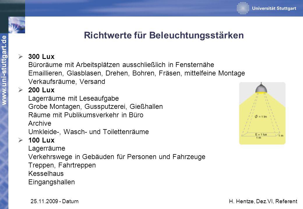 www.uni-stuttgart.de 25.11.2009 - DatumH. Hentze, Dez.VI, Referent Richtwerte für Beleuchtungsstärken 300 Lux Büroräume mit Arbeitsplätzen ausschließl