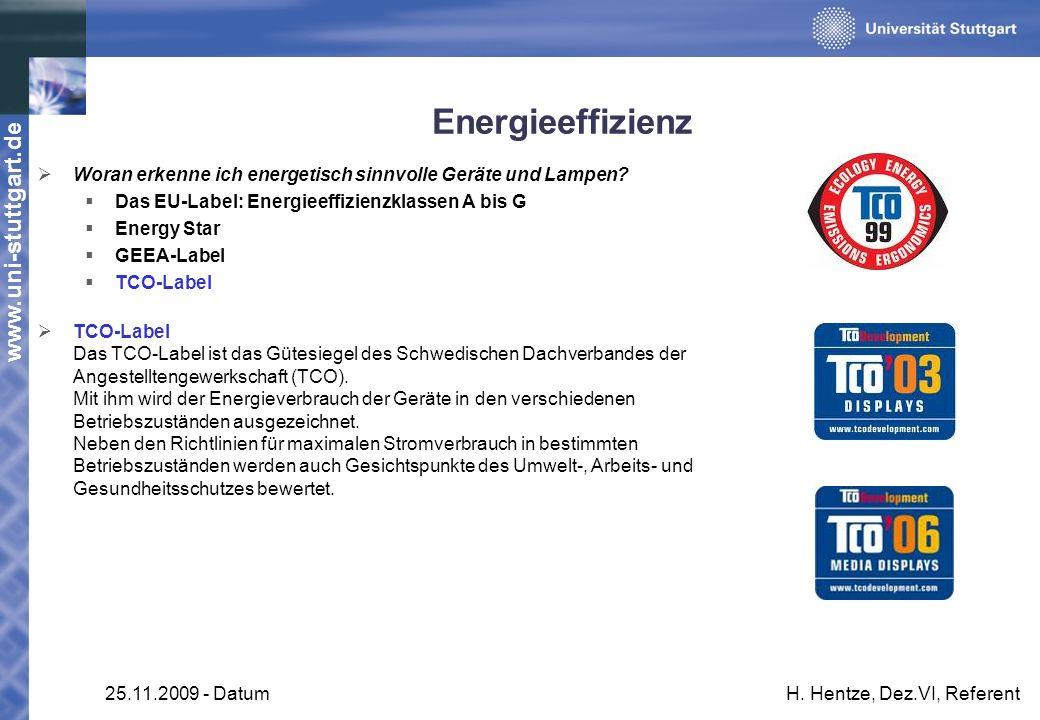 www.uni-stuttgart.de 25.11.2009 - DatumH. Hentze, Dez.VI, Referent Energieeffizienz Woran erkenne ich energetisch sinnvolle Geräte und Lampen? Das EU-