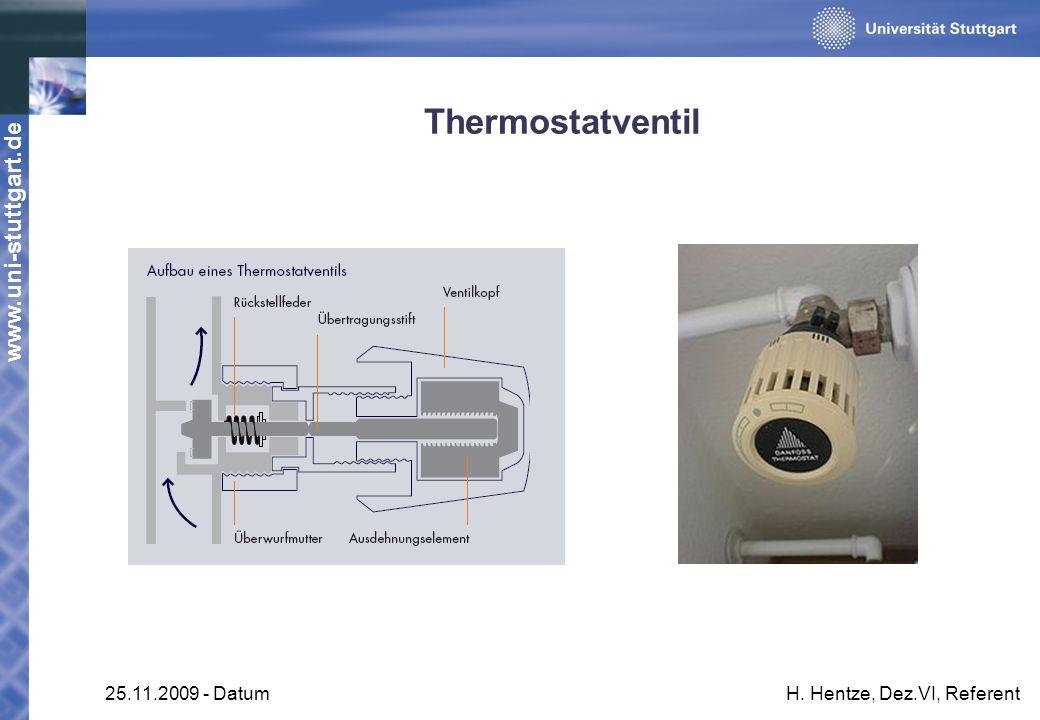 www.uni-stuttgart.de 25.11.2009 - DatumH. Hentze, Dez.VI, Referent Thermostatventil