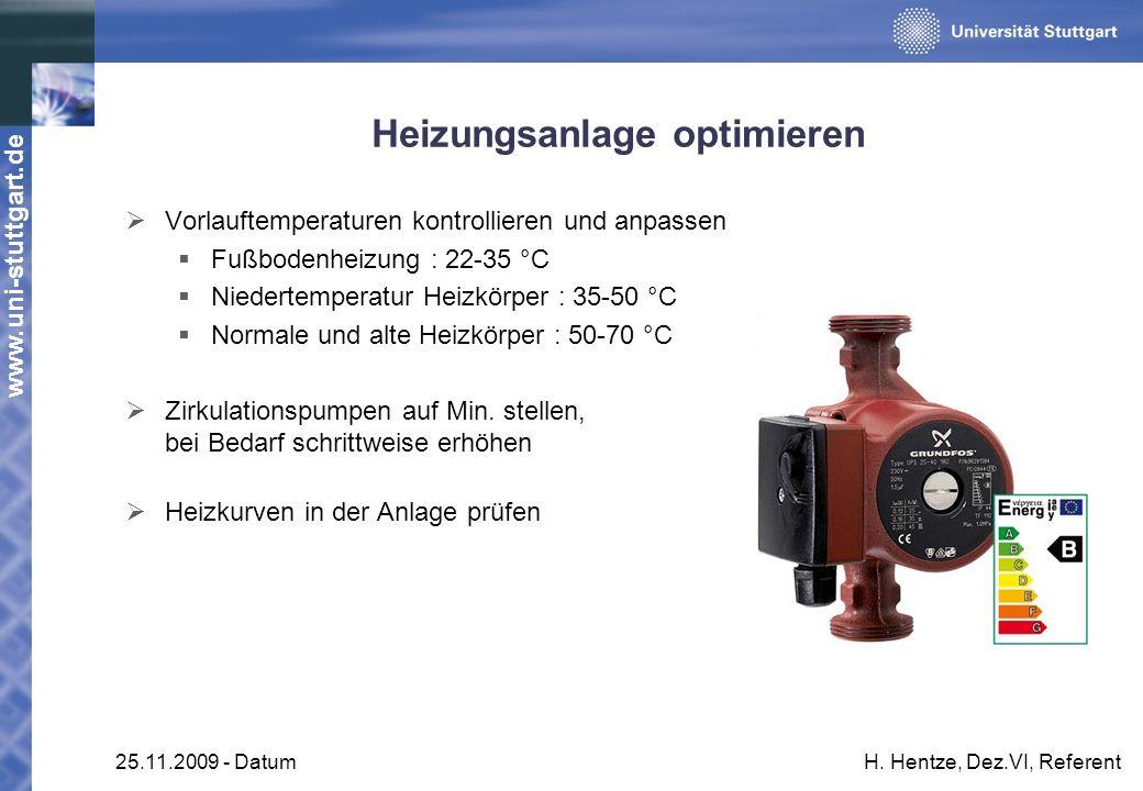 www.uni-stuttgart.de 25.11.2009 - DatumH. Hentze, Dez.VI, Referent Heizungsanlage optimieren Vorlauftemperaturen kontrollieren und anpassen Fußbodenhe