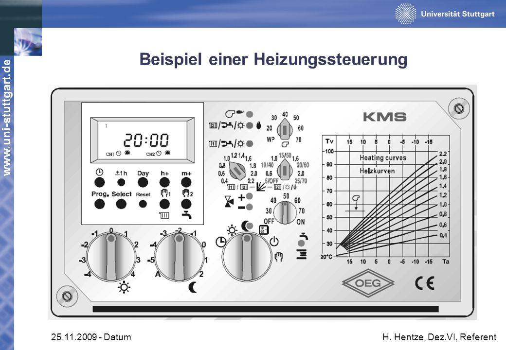 www.uni-stuttgart.de 25.11.2009 - DatumH. Hentze, Dez.VI, Referent Beispiel einer Heizungssteuerung
