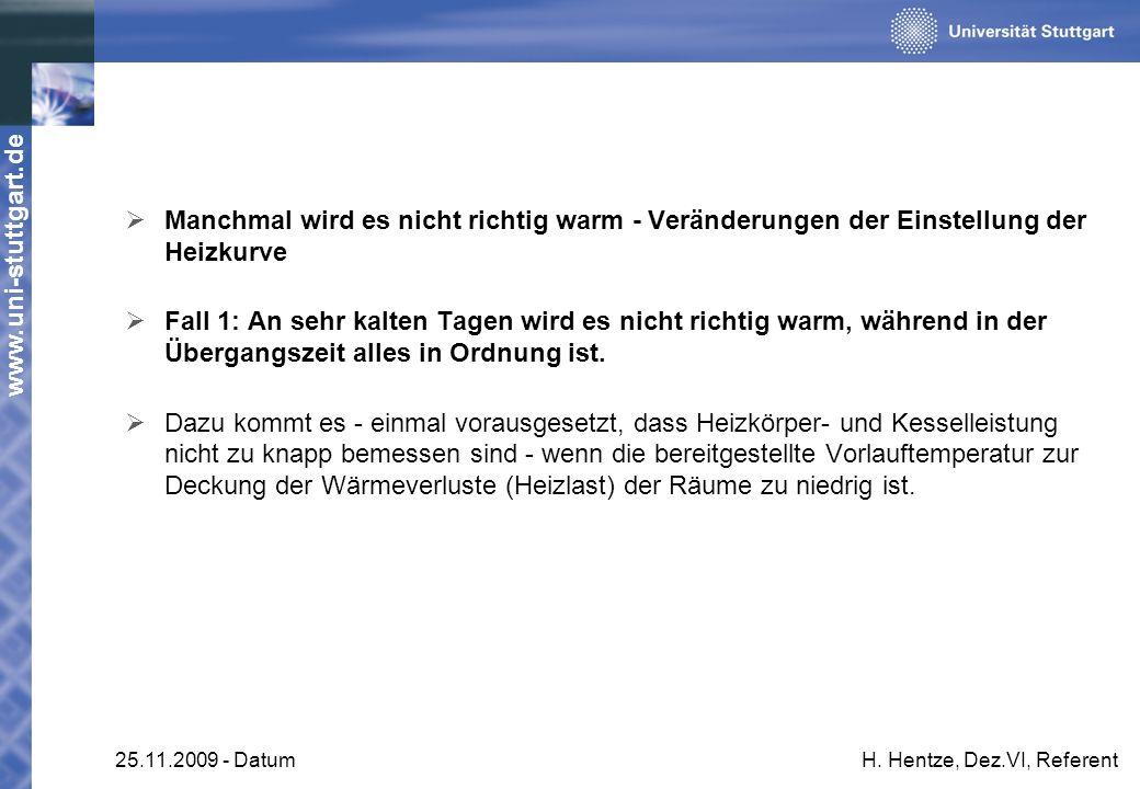www.uni-stuttgart.de 25.11.2009 - DatumH. Hentze, Dez.VI, Referent Manchmal wird es nicht richtig warm - Veränderungen der Einstellung der Heizkurve F