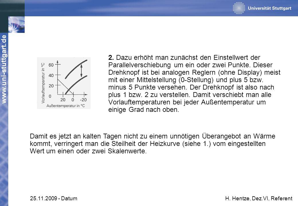 www.uni-stuttgart.de 25.11.2009 - DatumH. Hentze, Dez.VI, Referent 2. Dazu erhöht man zunächst den Einstellwert der Parallelverschiebung um ein oder z