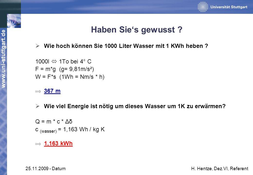 www.uni-stuttgart.de 25.11.2009 - DatumH. Hentze, Dez.VI, Referent Haben Sies gewusst ? Wie hoch können Sie 1000 Liter Wasser mit 1 KWh heben ? 1000l
