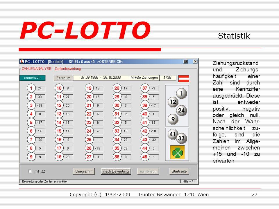 Copyright (C) 1994-2009 Günter Biswanger 1210 Wien27 Ziehungsrückstand und Ziehungs- häufigkeit einer Zahl sind durch eine Kennziffer ausgedrückt.