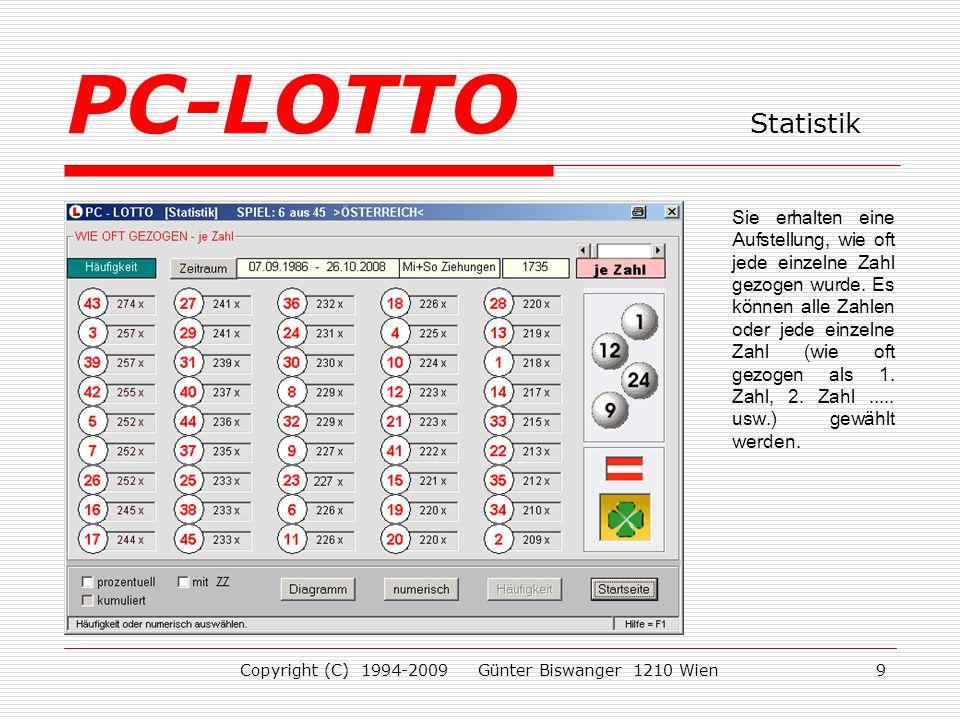 Copyright (C) 1994-2009 Günter Biswanger 1210 Wien9 Sie erhalten eine Aufstellung, wie oft jede einzelne Zahl gezogen wurde.