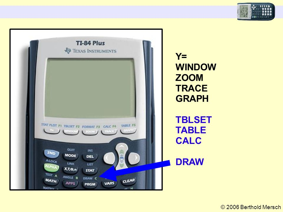 © 2006 Berthold Mersch Y= WINDOW ZOOM TRACE GRAPH TBLSET TABLE CALC DRAW