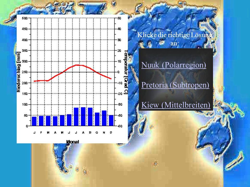 Nuuk (Polarregion) Pretoria (Subtropen) Kiew (Mittelbreiten) Klicke die richtige Lösung an: