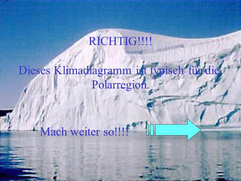 RICHTIG!!!! Dieses Klimadiagramm ist typisch für die Polarregion. Mach weiter so!!!!