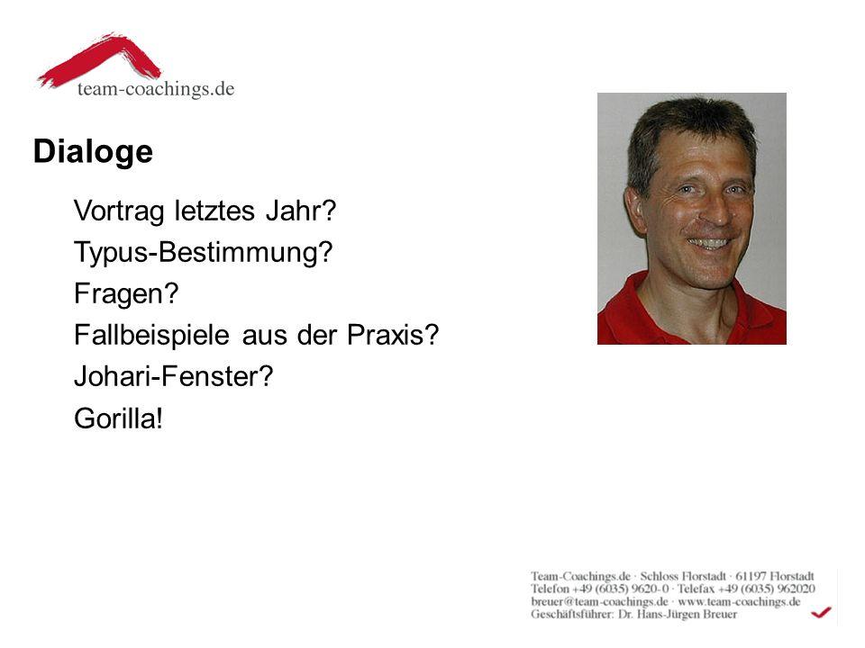Dialoge Vortrag letztes Jahr.Typus-Bestimmung. Fragen.
