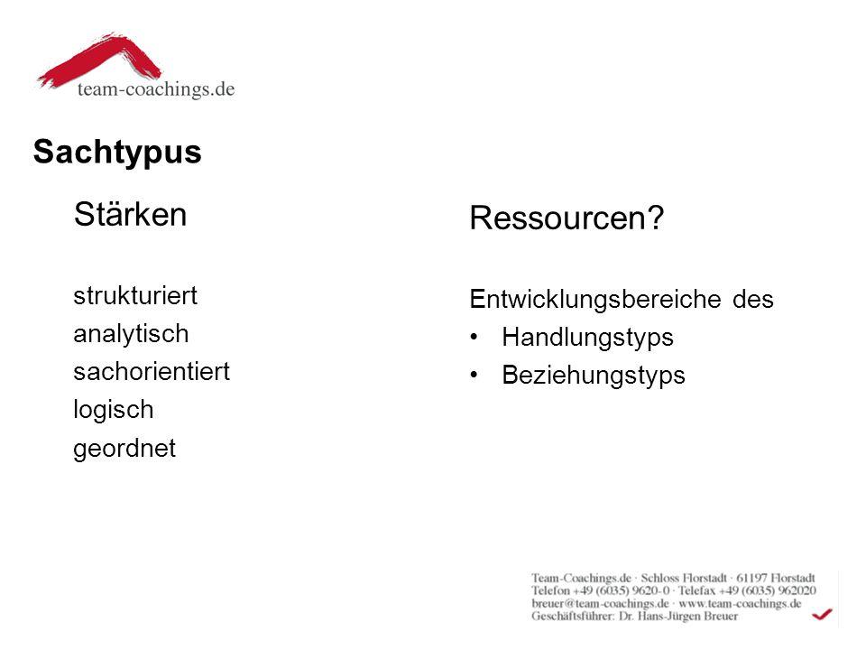 Sachtypus Stärken strukturiert analytisch sachorientiert logisch geordnet Ressourcen.