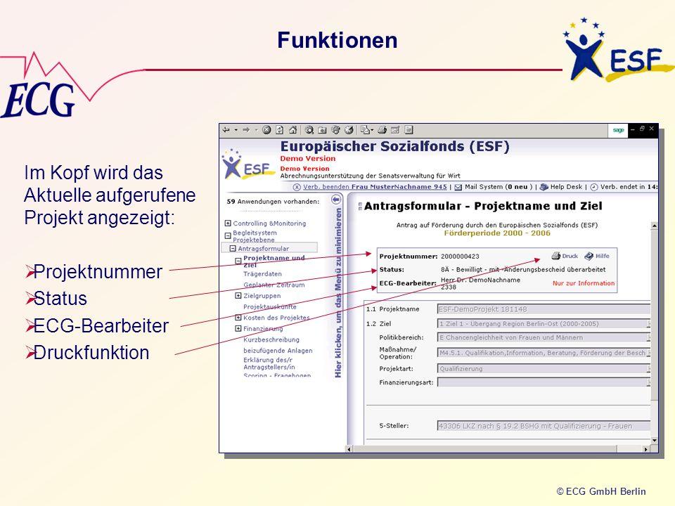 © ECG GmbH Berlin Funktionen Im Kopf wird das Aktuelle aufgerufene Projekt angezeigt: Projektnummer Status ECG-Bearbeiter Druckfunktion