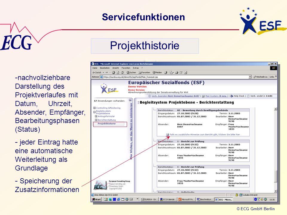 © ECG GmbH Berlin Servicefunktionen Projekthistorie - nachvollziehbare Darstellung des Projektverlaufes mit Datum, Uhrzeit, Absender, Empfänger, Bearb