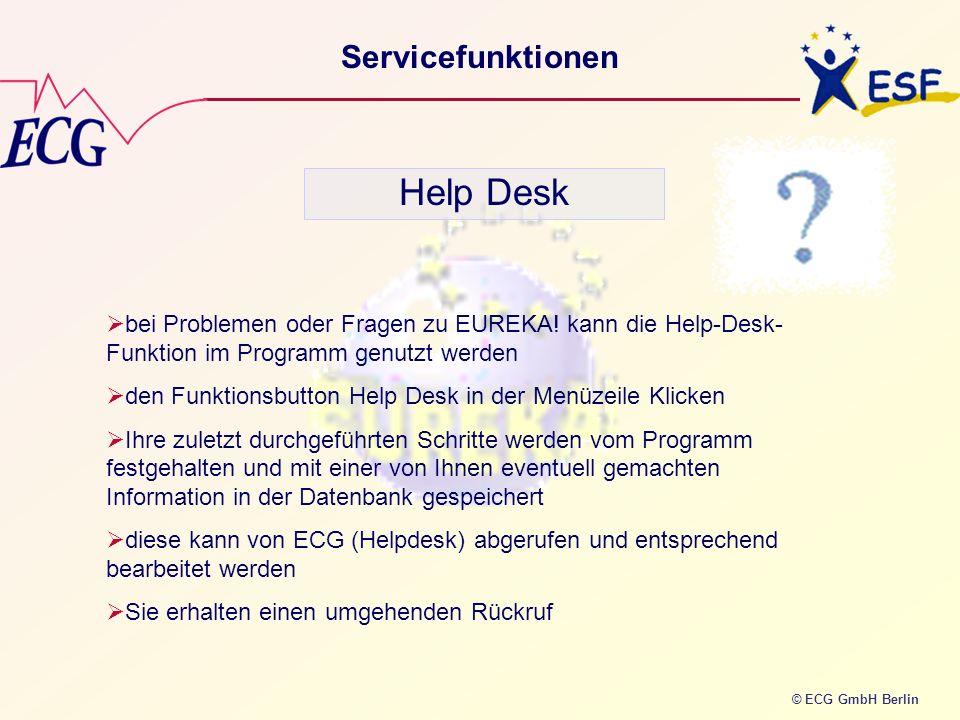 © ECG GmbH Berlin Servicefunktionen Help Desk bei Problemen oder Fragen zu EUREKA! kann die Help-Desk- Funktion im Programm genutzt werden den Funktio