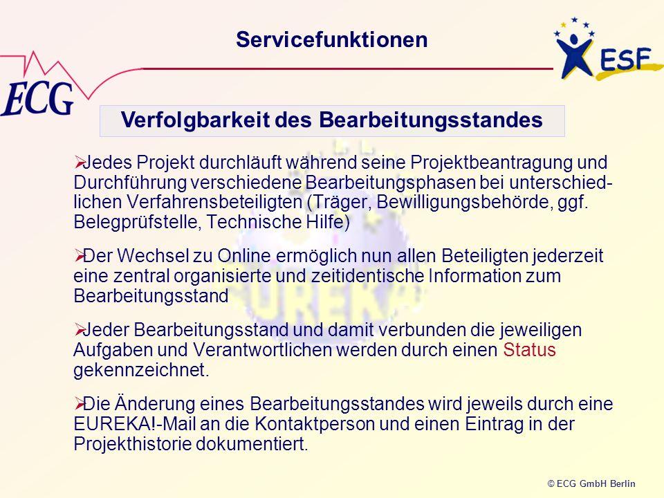 © ECG GmbH Berlin Servicefunktionen Jedes Projekt durchläuft während seine Projektbeantragung und Durchführung verschiedene Bearbeitungsphasen bei unt