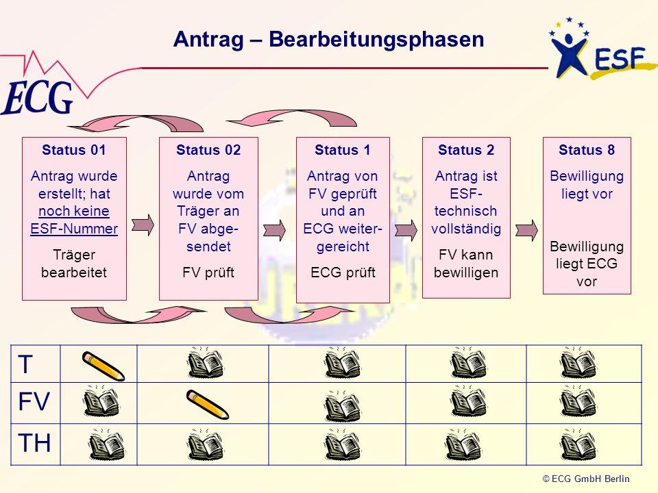 © ECG GmbH Berlin Antrag – Bearbeitungsphasen Status 01 Antrag wurde erstellt; hat noch keine ESF-Nummer Träger bearbeitet Status 02 Antrag wurde vom