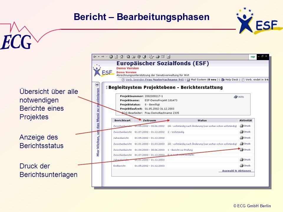 © ECG GmbH Berlin Bericht – Bearbeitungsphasen Übersicht über alle notwendigen Berichte eines Projektes Anzeige des Berichtsstatus Druck der Berichtsu
