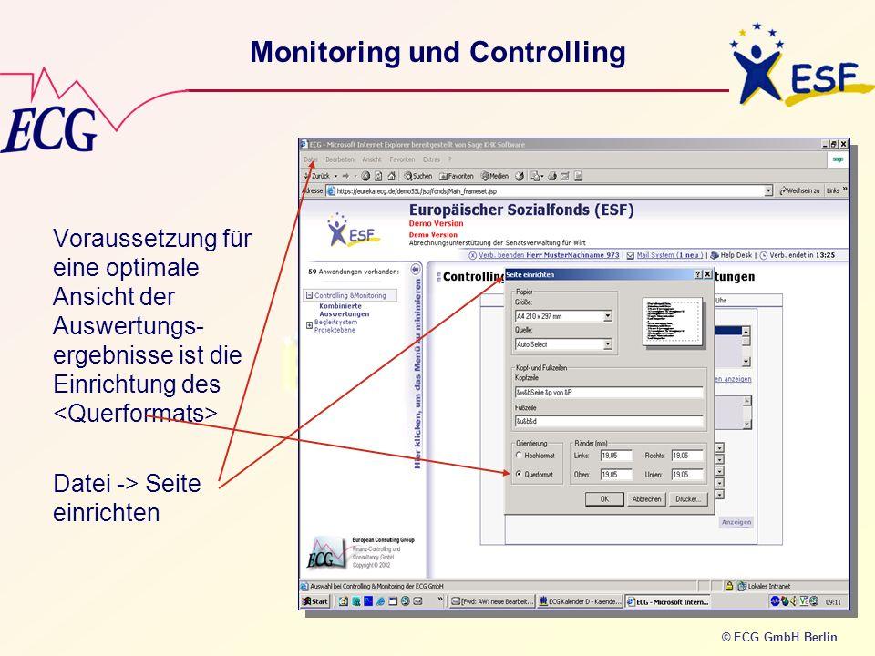 © ECG GmbH Berlin Voraussetzung für eine optimale Ansicht der Auswertungs- ergebnisse ist die Einrichtung des Datei -> Seite einrichten Monitoring und