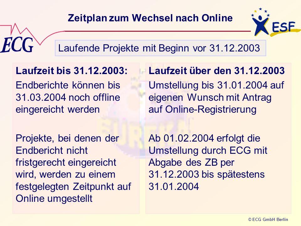 © ECG GmbH Berlin Zeitplan zum Wechsel nach Online Laufzeit bis 31.12.2003: Endberichte können bis 31.03.2004 noch offline eingereicht werden Projekte