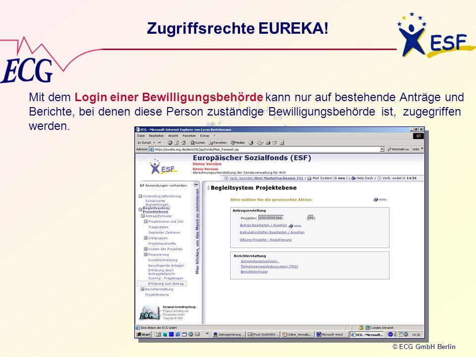 © ECG GmbH Berlin Zugriffsrechte EUREKA! Mit dem Login einer Bewilligungsbehörde kann nur auf bestehende Anträge und Berichte, bei denen diese Person