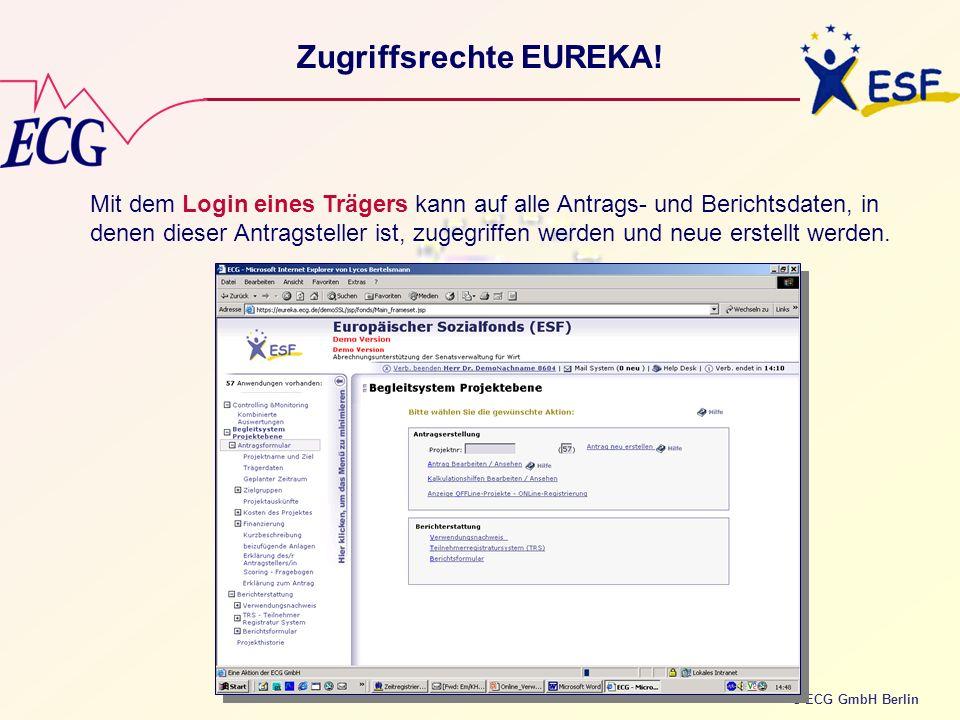 © ECG GmbH Berlin Zugriffsrechte EUREKA! Mit dem Login eines Trägers kann auf alle Antrags- und Berichtsdaten, in denen dieser Antragsteller ist, zuge