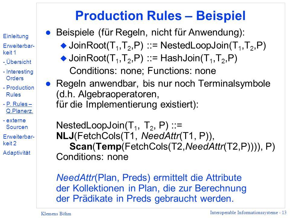 Interoperable Informationssysteme - 13 Klemens Böhm Production Rules – Beispiel l Beispiele (für Regeln, nicht für Anwendung): u JoinRoot(T 1,T 2,P) :