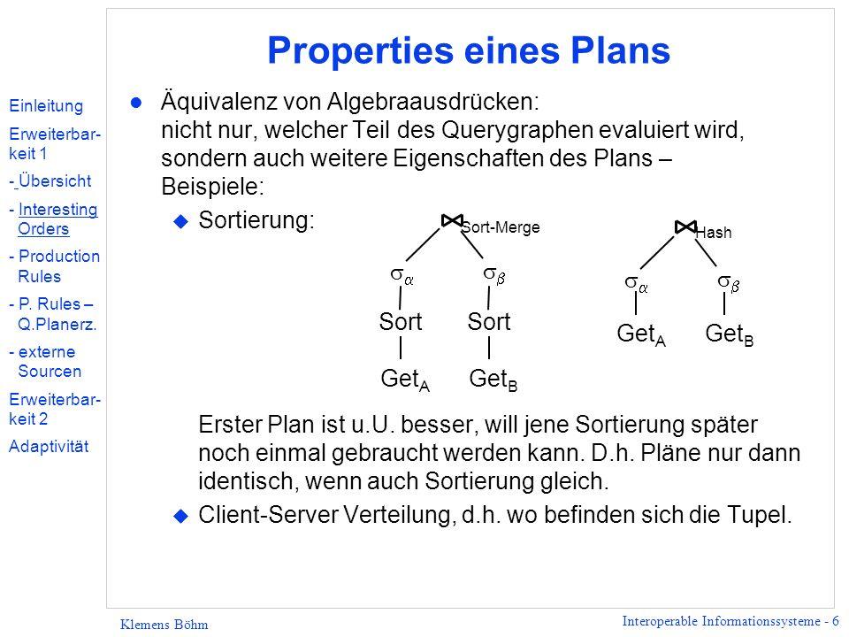 Interoperable Informationssysteme - 6 Klemens Böhm Properties eines Plans l Äquivalenz von Algebraausdrücken: nicht nur, welcher Teil des Querygraphen