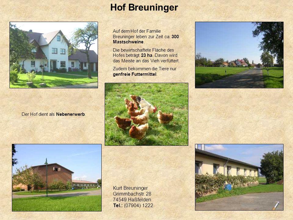 Hof Breuninger Auf dem Hof der Familie Breuninger leben zur Zeit ca. 300 Mastschweine. Die bewirtschaftete Fläche des Hofes beträgt 23 ha. Davon wird