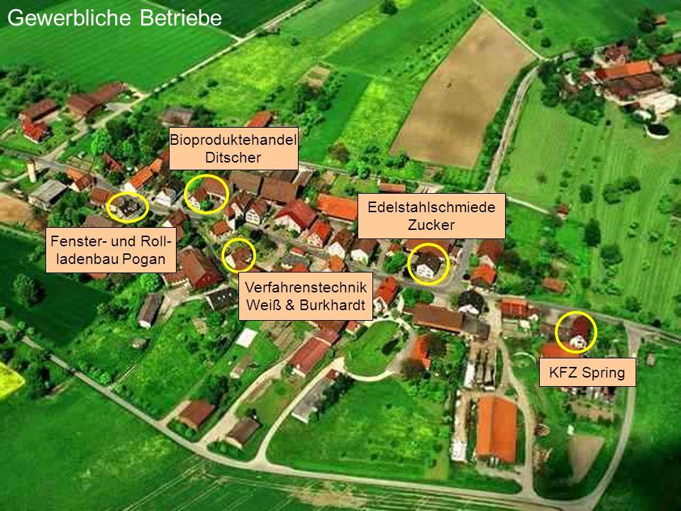 Edelstahlschmiede Zucker KFZ Spring Fenster- und Roll- ladenbau Pogan Gewerbliche Betriebe Bioproduktehandel Ditscher Verfahrenstechnik Weiß & Burkhar