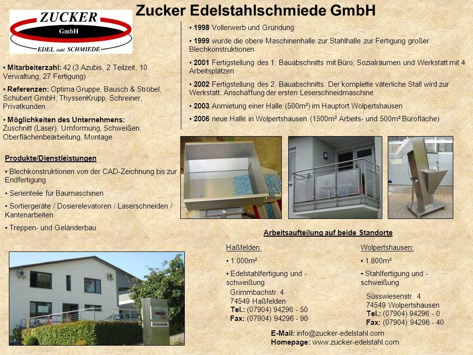 Zucker Edelstahlschmiede GmbH E-Mail: info@zucker-edelstahl.com Homepage: www.zucker-edelstahl.com 1998 Vollerwerb und Gründung 1999 wurde die obere M