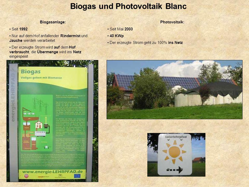 Biogas und Photovoltaik Blanc Photovoltaik: Seit Mai 2003 40 KWp Der erzeugte Strom geht zu 100% ins Netz Biogasanlage: Seit 1992 Nur auf dem Hof anfa